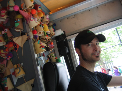 Kevin White in the Puppet Mobile