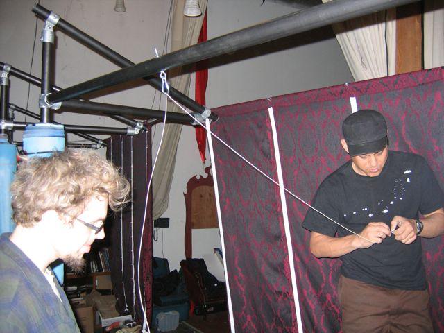 stringing crankie curtain