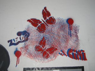 Christine Marie's 3D shadows inspired me to make this red/blue piece in Koleszar's garage studio