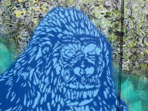 I spraypainted Scot t Williams's huge gorilla on the back door of CELL.in 2010. It is gone (as is the piece that replaced it) due to tagging.